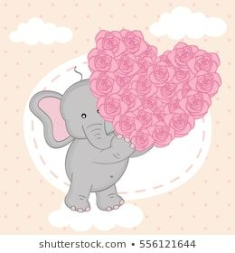 elephant holding heart of roses on cloud- vector illustration, eps