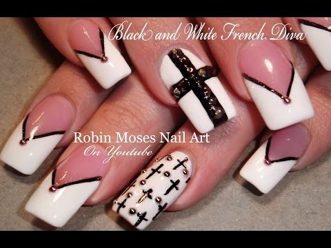 Black and white nails chevron tips crosses nail art design tutorial youtube