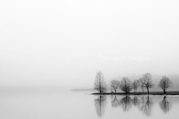 Lake Tree Silhouette Black And White Landscape Large Poster /& Canvas Pictures