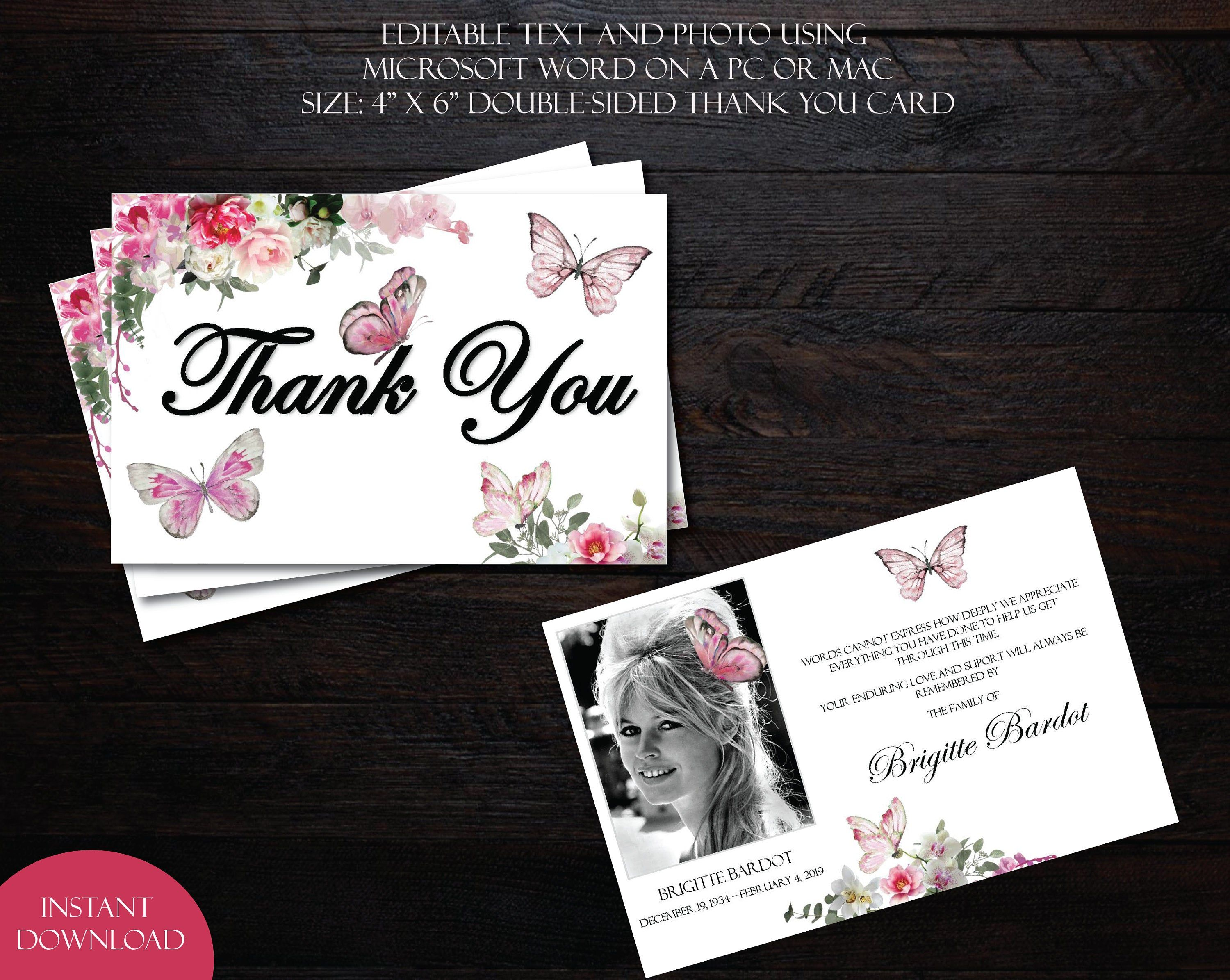 Pink Peony Orchid Butterfly 4 X 6 Double Sided Thank You Card Template Funeral Thank You Funeral Thank You Cards Funeral Thank You Thank You Card Template