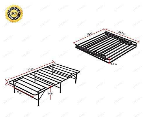 Colibrox Foldable Metal Platform Bed Frame W Under Bed Storage