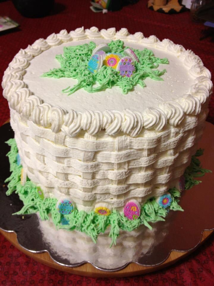 Easter basket weave designed cake.   Cakes by ME ...