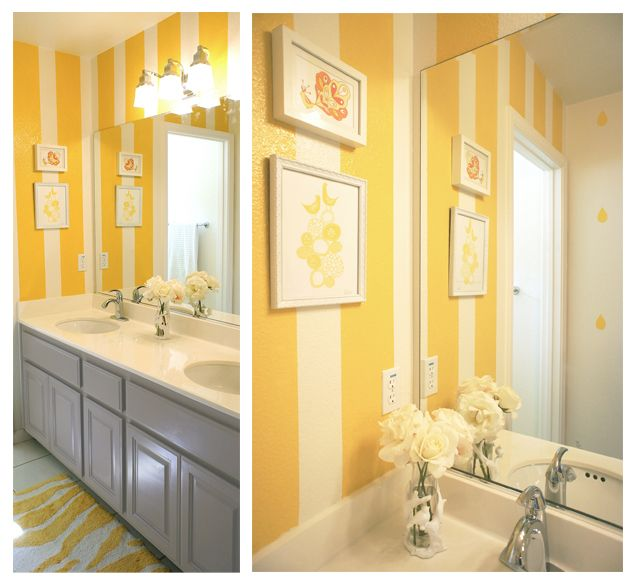 Yellow And White Stripes Kids Bathroom Gray Vanity Cabinet Yellow Bathroom Walls Yellow Bathrooms Yellow Kids Rooms