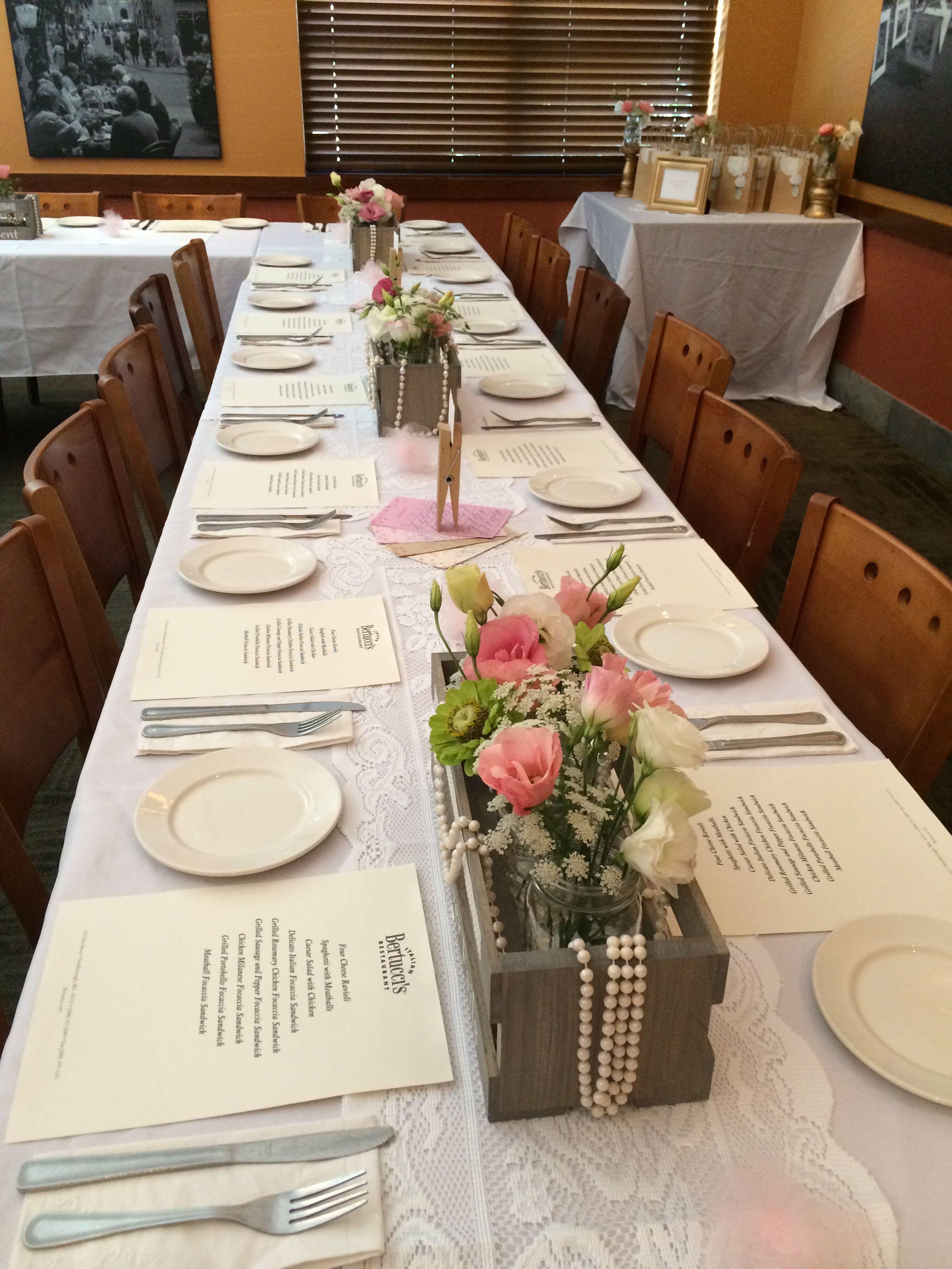 Bridal shower at bertuccius gold pink lace mason jars flowers