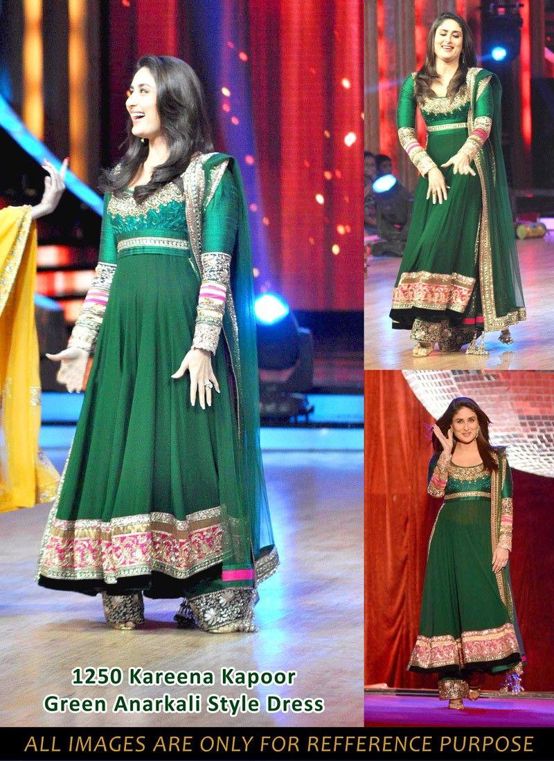 Kareena Kapoor Off White and Green Georgette Anarkali Suit ...  |Kareena In Green Anarkali Dress