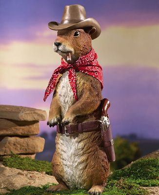 Prairie Dog Outlaw Resin Garden Statue   Maybe This Guy Could Shoot The  Squirrels Before They