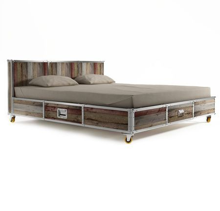 Industrial Loft Reclaimed Teak King Platform Storage Bed Bed