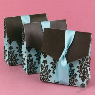 Aqua and Brown Flourish Wedding Favor Boxes