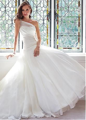 Buy discount Stunning Organza Satin A line e Shoulder Neck Dropped