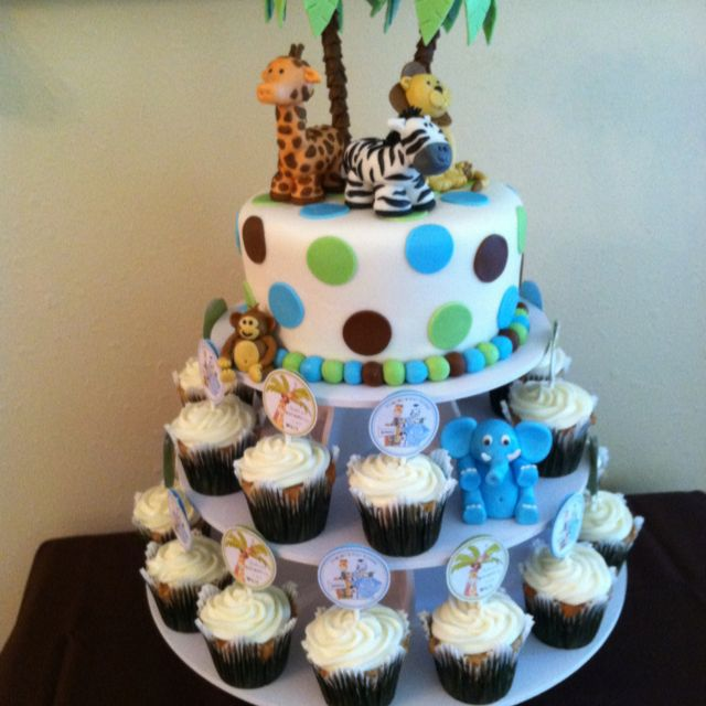 Jungle Animal Cake For Baby Shower Turned Out Great
