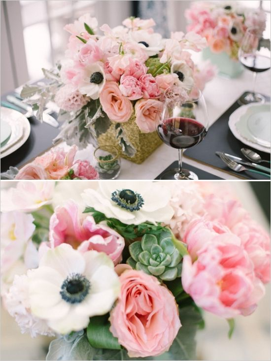 effbea1da4e1 Blue and Gold Watercolor Inspiration turned Real-Life Vow Renewal.  succulent and pink floral arrangements