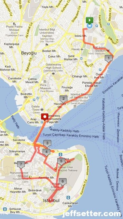 Our Istanbul Walking Tour Map Istanbul in a day