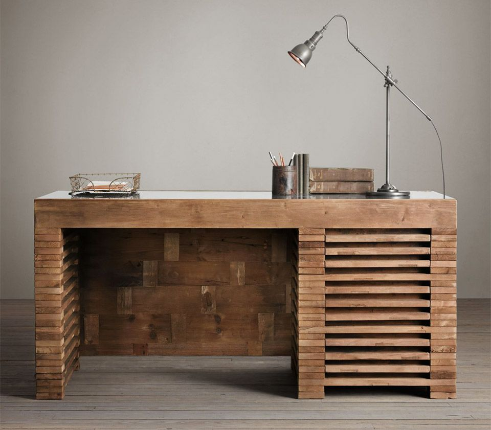 Reclaimed Timber Slat Desk Design Industrial
