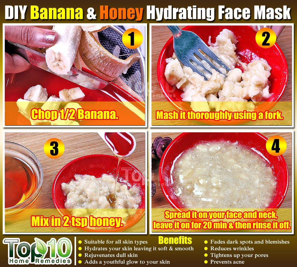 Easy DIY Banana & Honey Face Mask . This mask rejuvenates your dull skin, makes it soft and smooth, reduces wrinkles and blemishes as well. #facemask #top10homeremedies