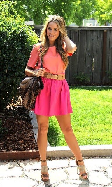 Pink and peach street style