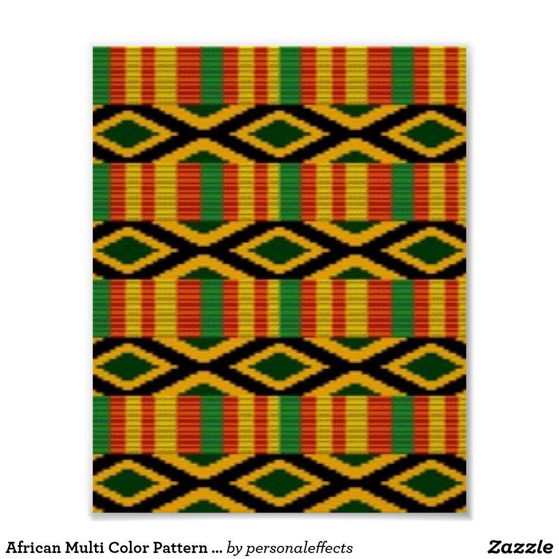African Multi Color Pattern Print Design Zazzle Com In 2021 Print Patterns Background Patterns African Colors
