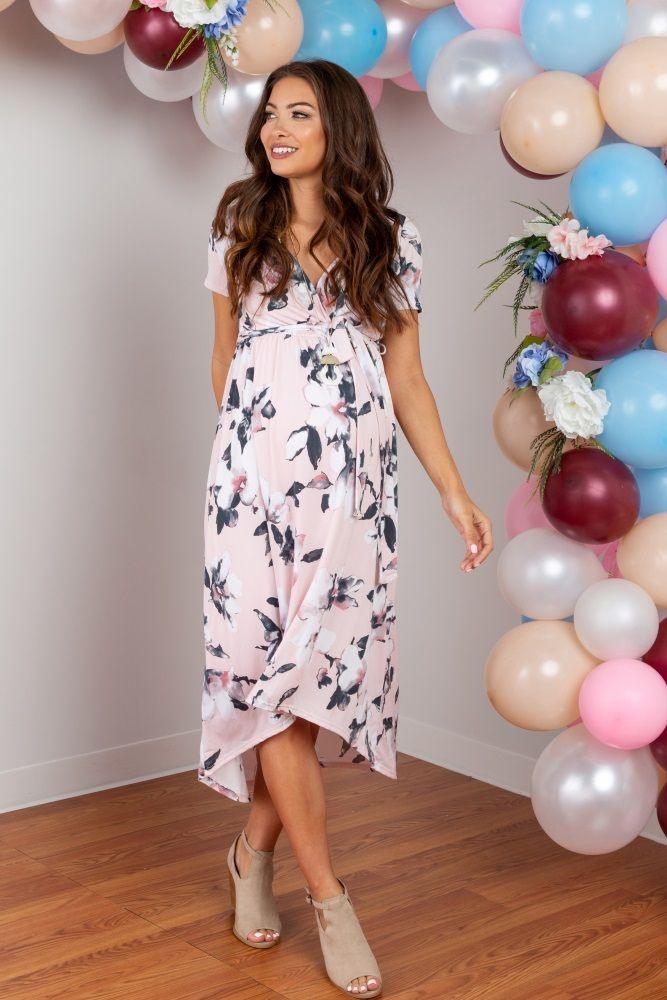 3b5621b36fd18 Pink Floral Hi-Low Maternity Wrap Dress in 2019 | Photo | Fitted ...
