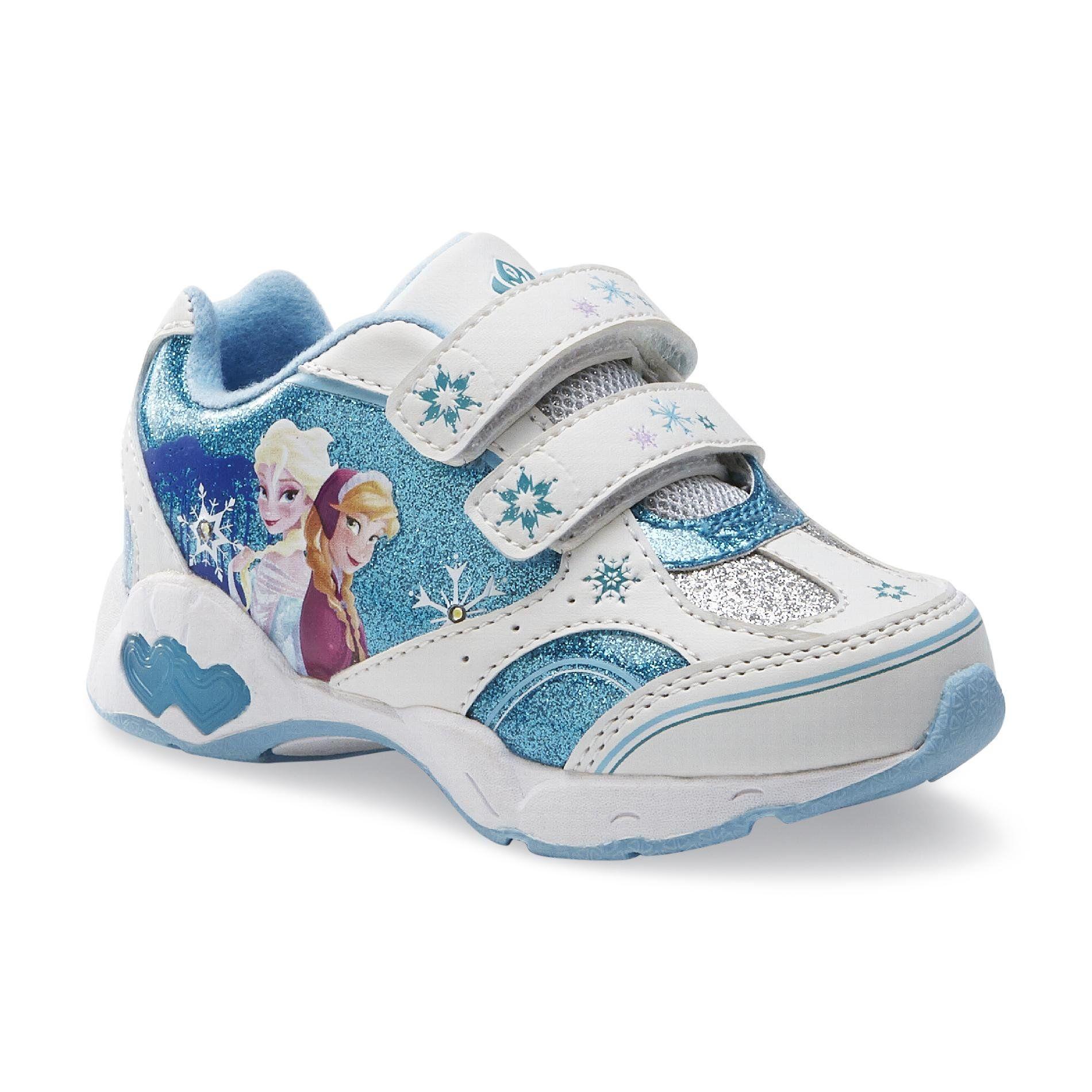 Disney Frozen Toddler Elsa Anna Sneakers Light-Up Lights Athletic Kids Shoes  Blue White