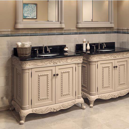 This Jeffrey Alexander Antique White Ornate Bathroom Vanity features