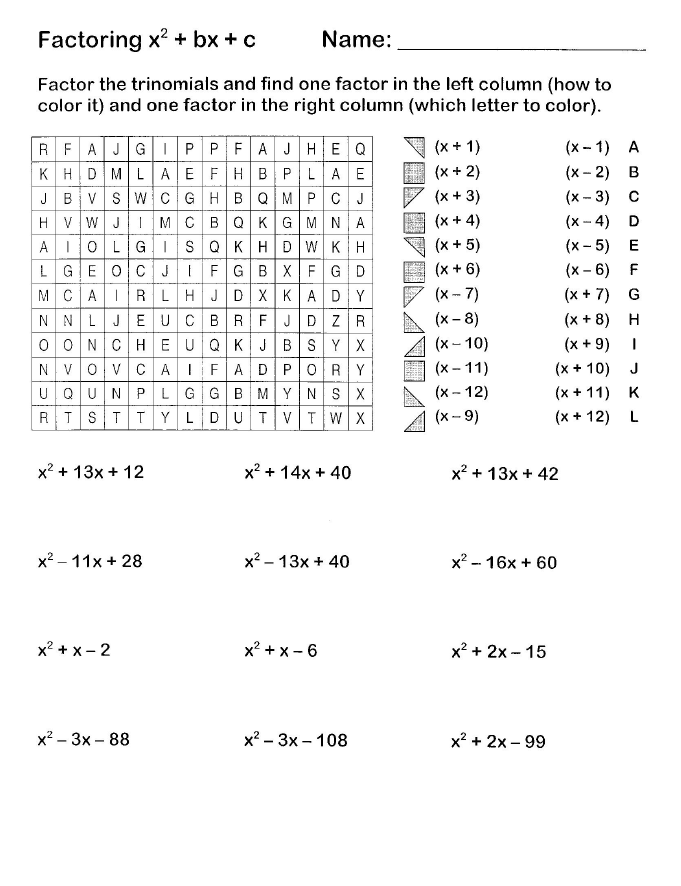 Easy Factoring Search and Shade | Algebra | Pinterest | Coloring ...