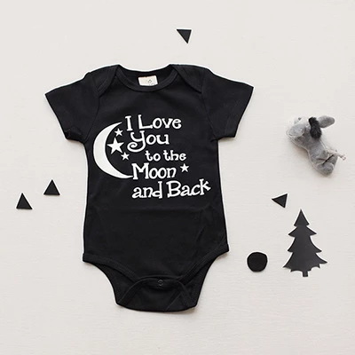Bodysuit Baby Boys Girls Clothing I Love You To The Moon And Back Blac Eosegal Cotton Baby Clothes Boys And Girls Clothes Organic Baby Clothes