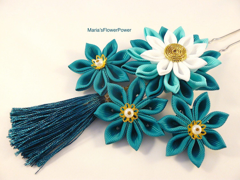 Bridal Japanese Kanzashi Flower Hair Clip Alligator Clip  with Blue Tassle