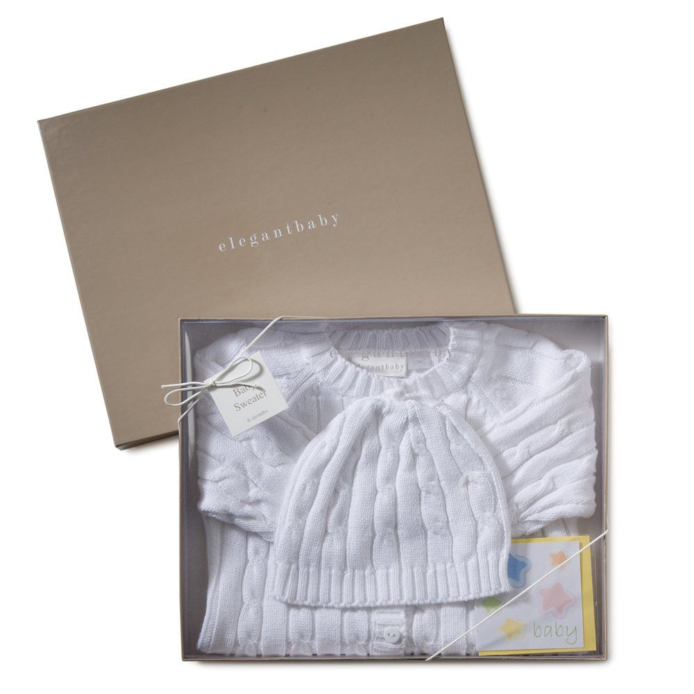 Elegant Baby Cable Knit Boxed Sweater & Cap - Free Shipping