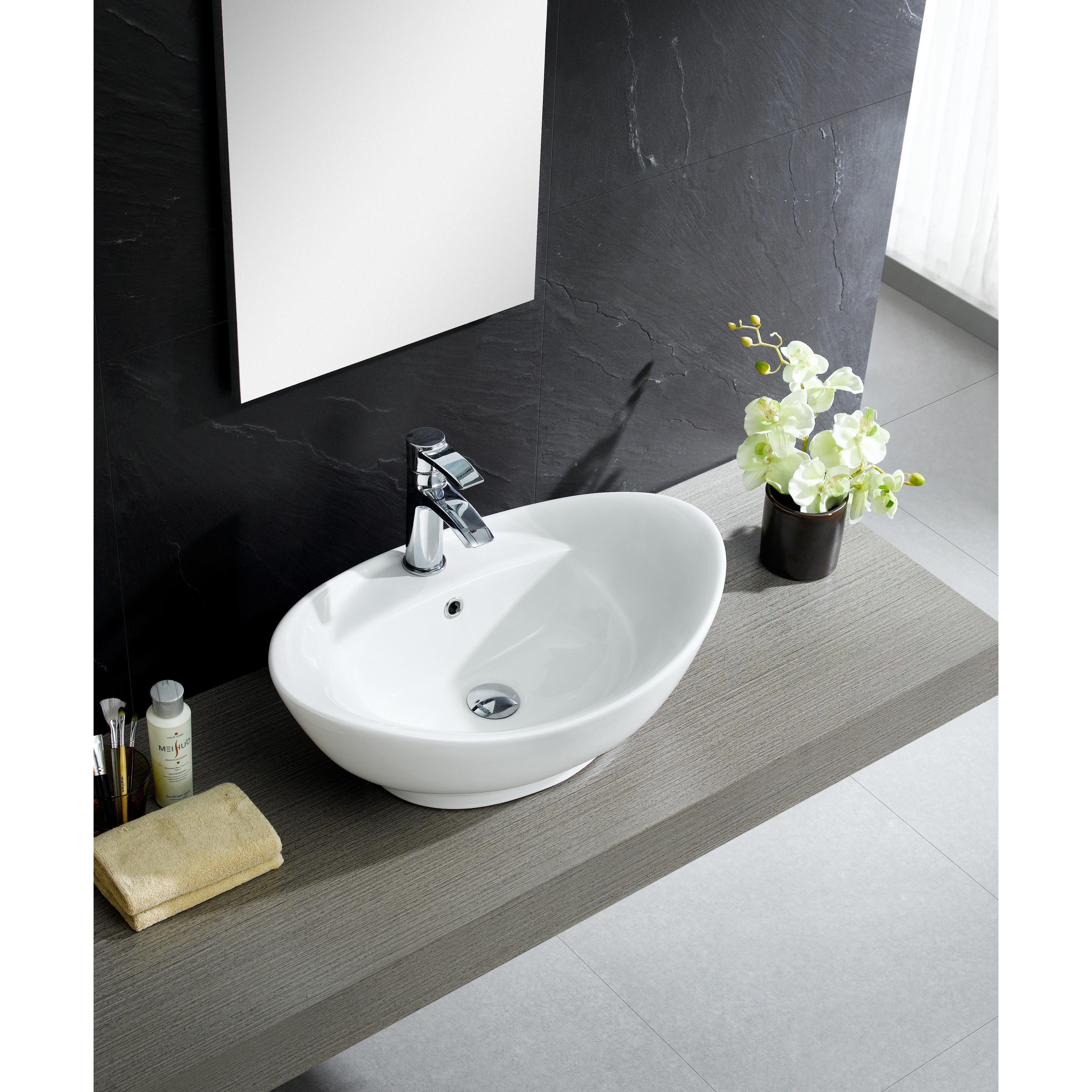 Modern Glossy White Ceramic Oval Vessel Bathroom Sink Modern Bathroom Sink Modern Sink White Vessel Sink