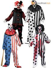Mens Deluxe Killer Clown Costume Halloween Horror Scary Circus Fancy Dress