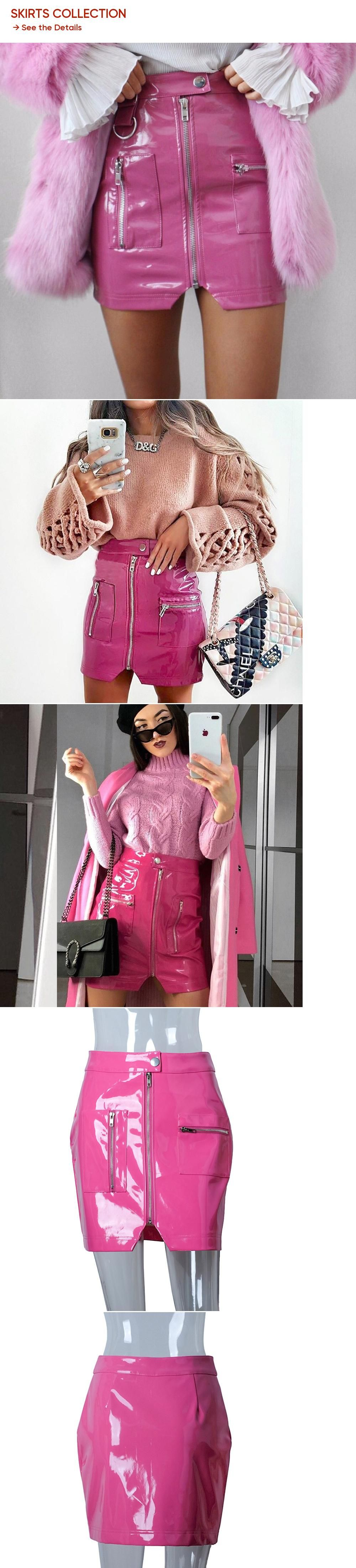 8051e3e83121f4 HOWMAYLEE PU Leather Skirt Women Button Down Pink 2018 New Spring Winter  Autumn Mini Pencil Skirts