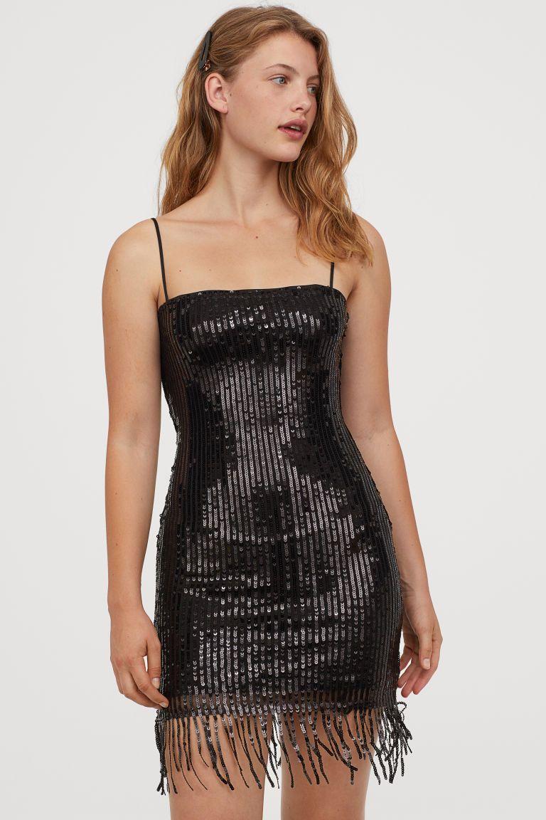 paillettenkleid mit fransen - schwarz - ladies   h&m de