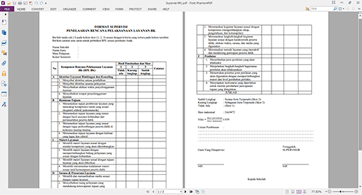 Contoh Instrumen Supervisi Rencana Pelaksanaan Layanan Rpl Bk