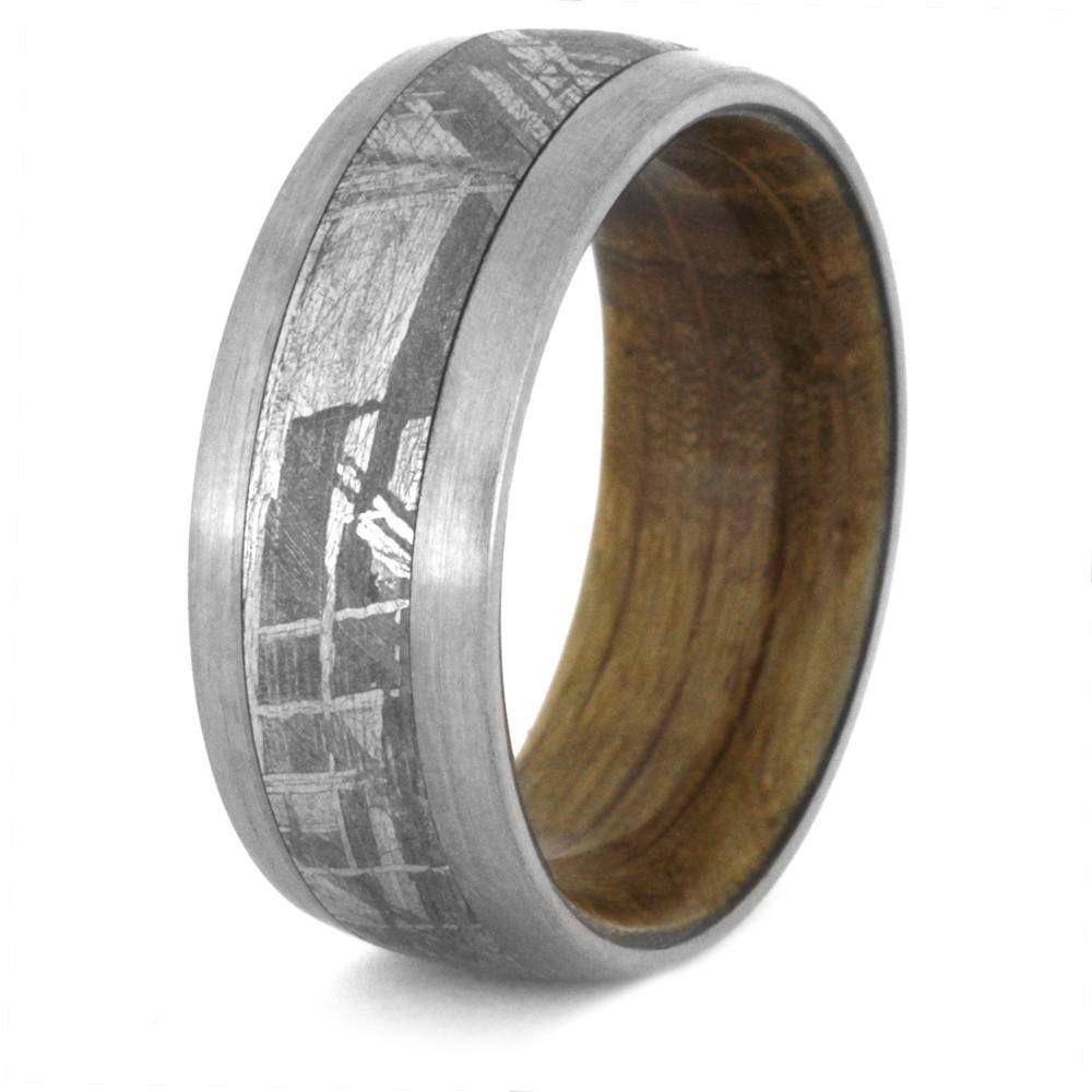 Mens Meteorite Wedding Band With A Whiskey Barrel Wood Sleeve 3430 Jack Daniels
