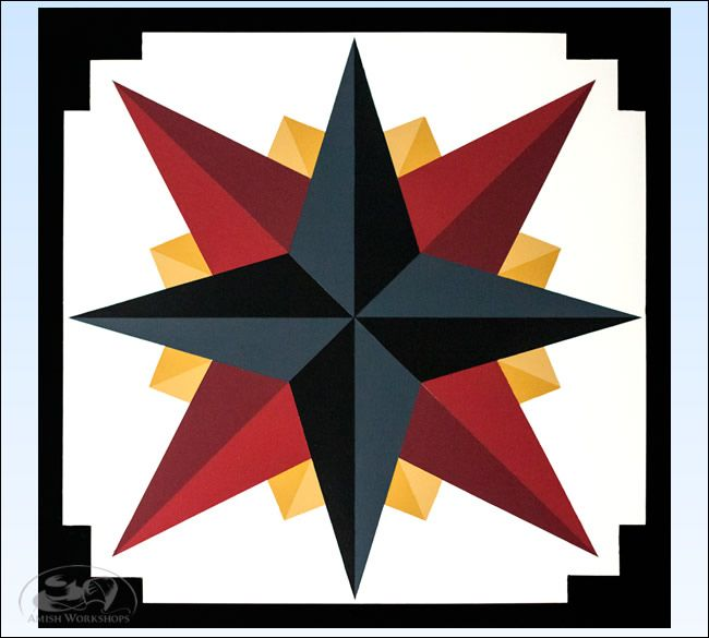 Charcoal Mariners Compass Barn Quilt - 3 foot square