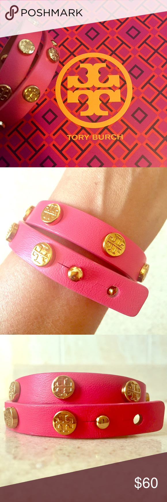 Tory Burch Double Wrap Bracelet Beautiful Tory Burch Double Wrap Logo Stud Bracelet in Pink! Done in leather and dotted with double T's in plated brass. Really pretty, easy to wear, accentuates and adds a pop to any outfit! Worn alone or stacked with a watch or additional bracelets- this is one accessory that never fails to add a little chic to your look. New/ Never Used/ In original dust bag w/tag. Tory Burch Jewelry Bracelets