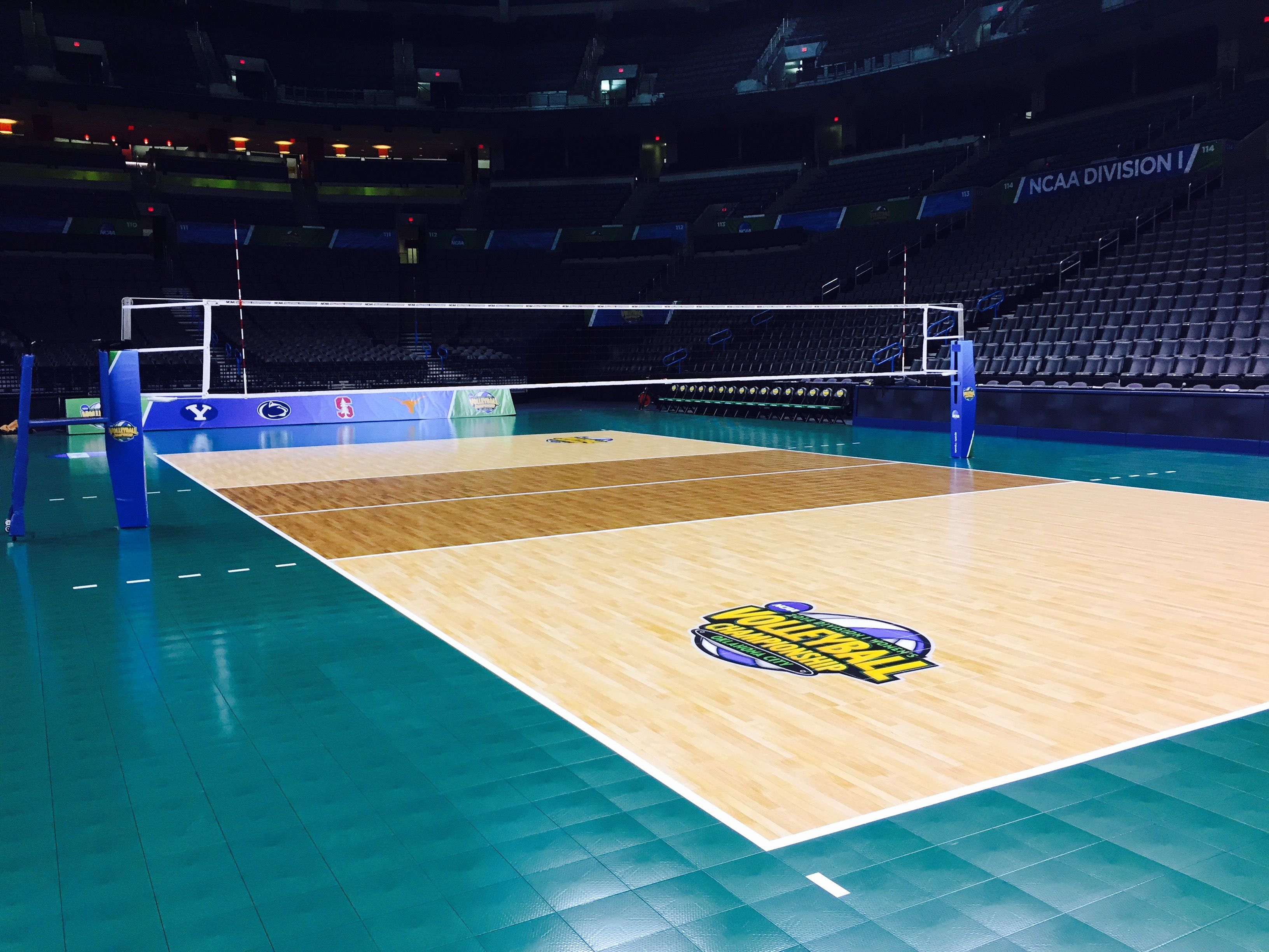 A Look Back At The 2014 Ncaa Volleyball Championship Court As The 2015 Preseason Begins Who Will Rally Home Basketball Court Sports Court Flooring Sport Court