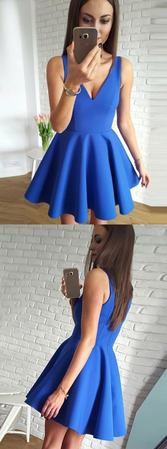 Aline vneck short royal blue satin homecoming dress with pleats