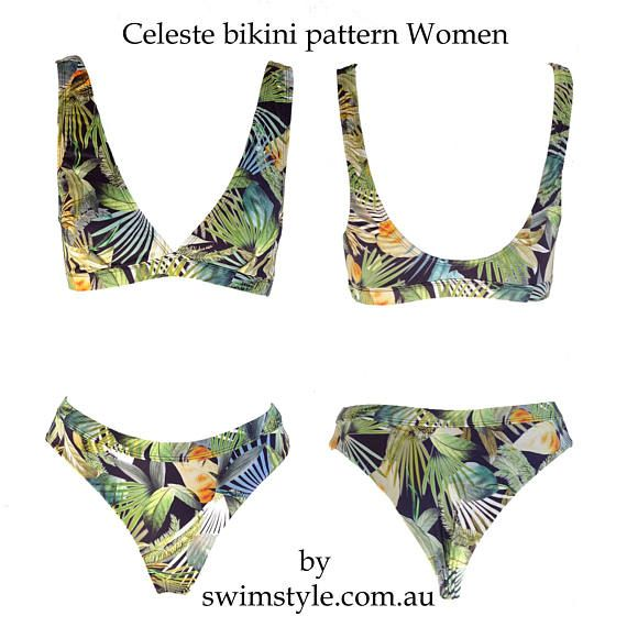 Celeste High cut bikini sewing pattern Women pdf sewing pattern ...
