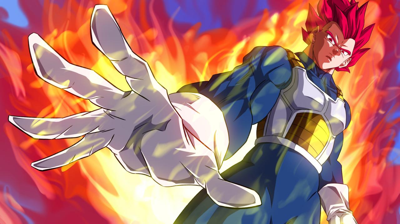 バァサク (Pixiv) Super Saiyan God Vegeta! / Fanart Anime