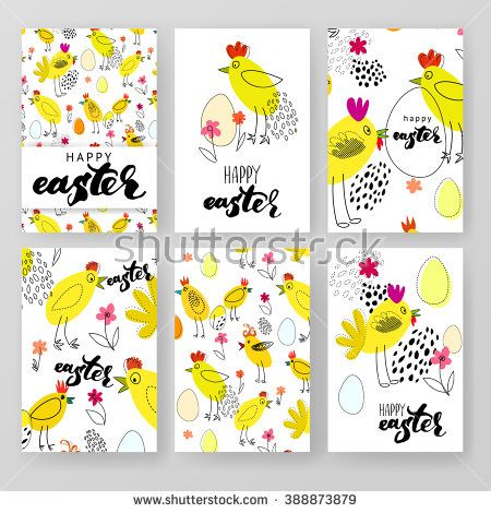 Vector design template collection for banner, flyer, placard - easter greeting card template