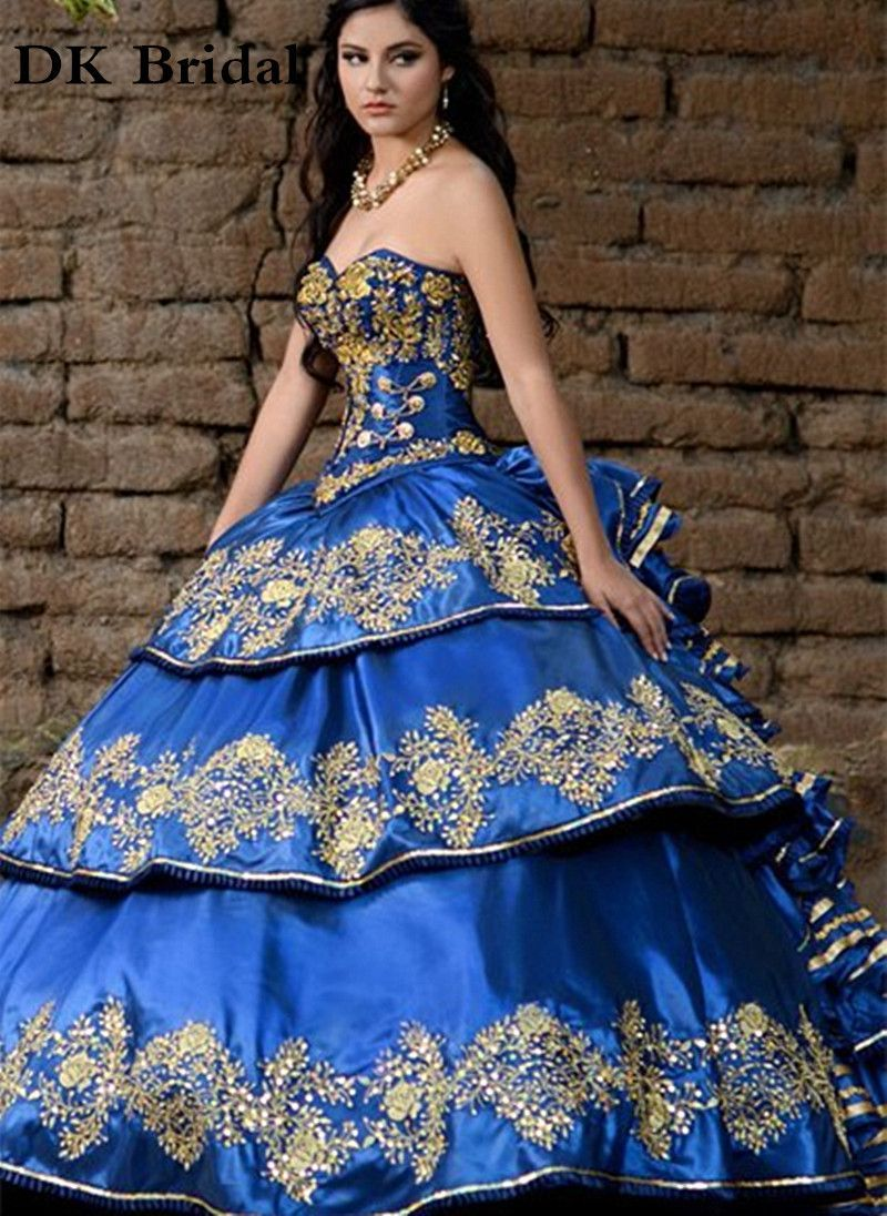 DK Bridal Gorgeous Royal Blue Sweetheart Quinceanera Dresses 2017 Gold  Embroidery Debutante Gown Sweet 16 Dresses a0f81a065