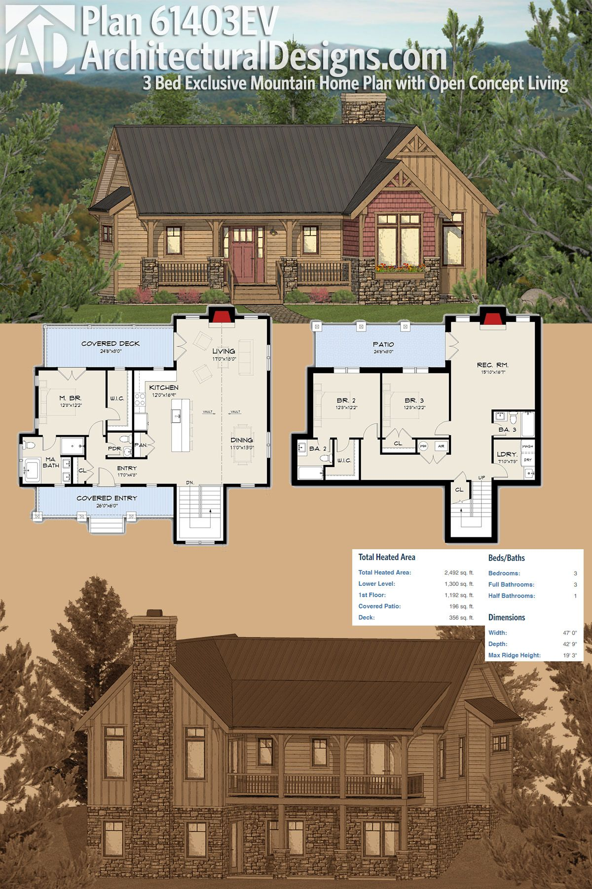 Architectural Designs 3 Bed Mountain House Plan 61403ev Comes With A Finished Lower Level Making It Gre Mountain House Plans House Plans Sloping Lot House Plan