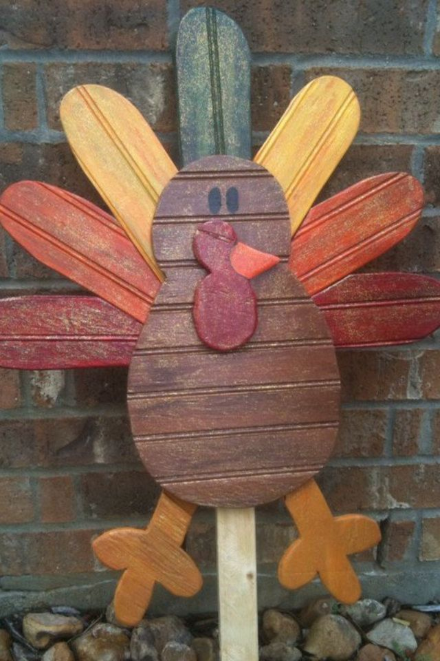 Thanksgiving Turkey Fall Decoration Yard Art $4500, via Etsy - halloween arts and crafts decorations