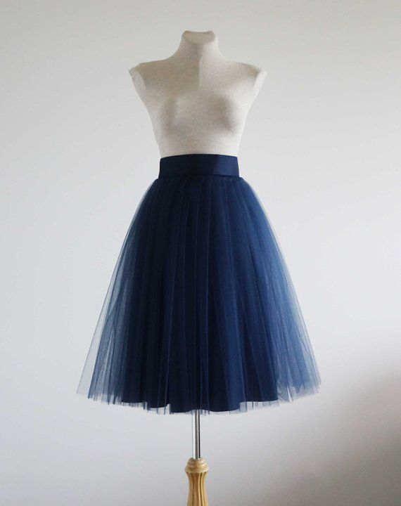 cbfae691637 Navy Tulle skirt. Tulle skirt. Woman tulle skirt. Tea length tulle skirt. Tutu  skirt for woman. Tutu