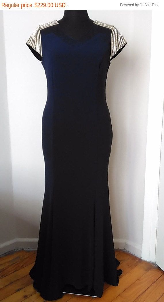 Sale Mother of Bride Dress Navy Blue Long Evening Gown With Cap sleeves V- Necklines Sash Mermaid Dress Size - L