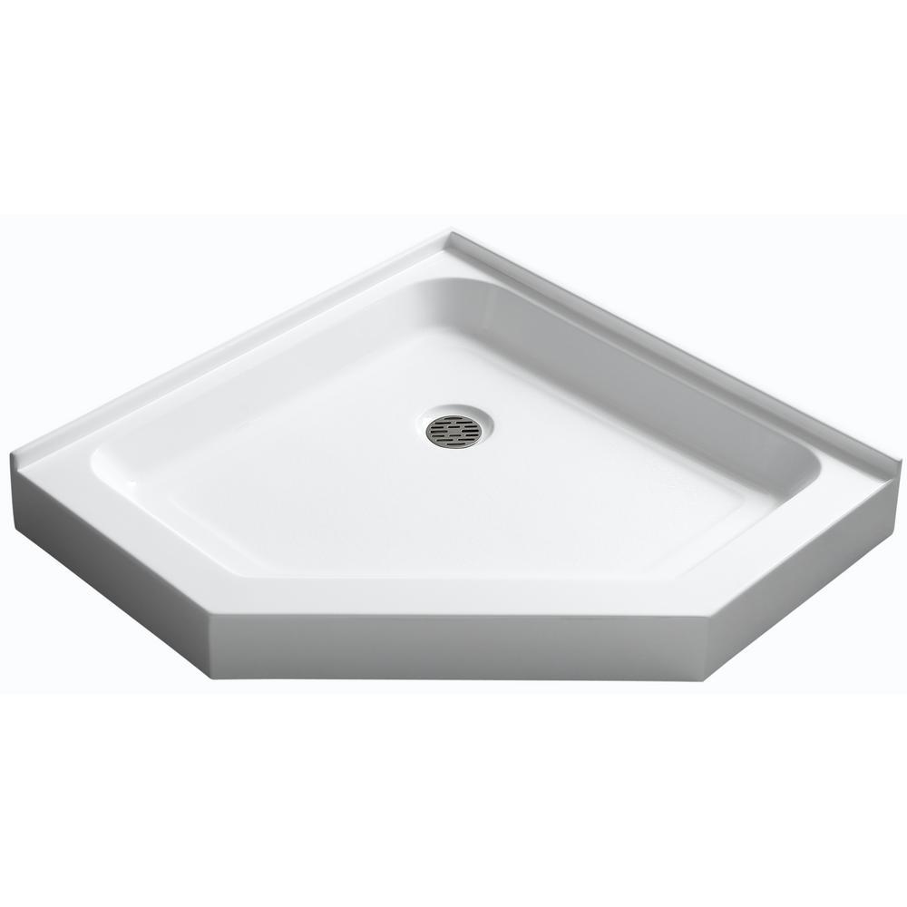 Anzzi Randi 36 In X 36 In Double Threshold Shower Base In White Shower Base Corner Shower Base Neo Angle Shower