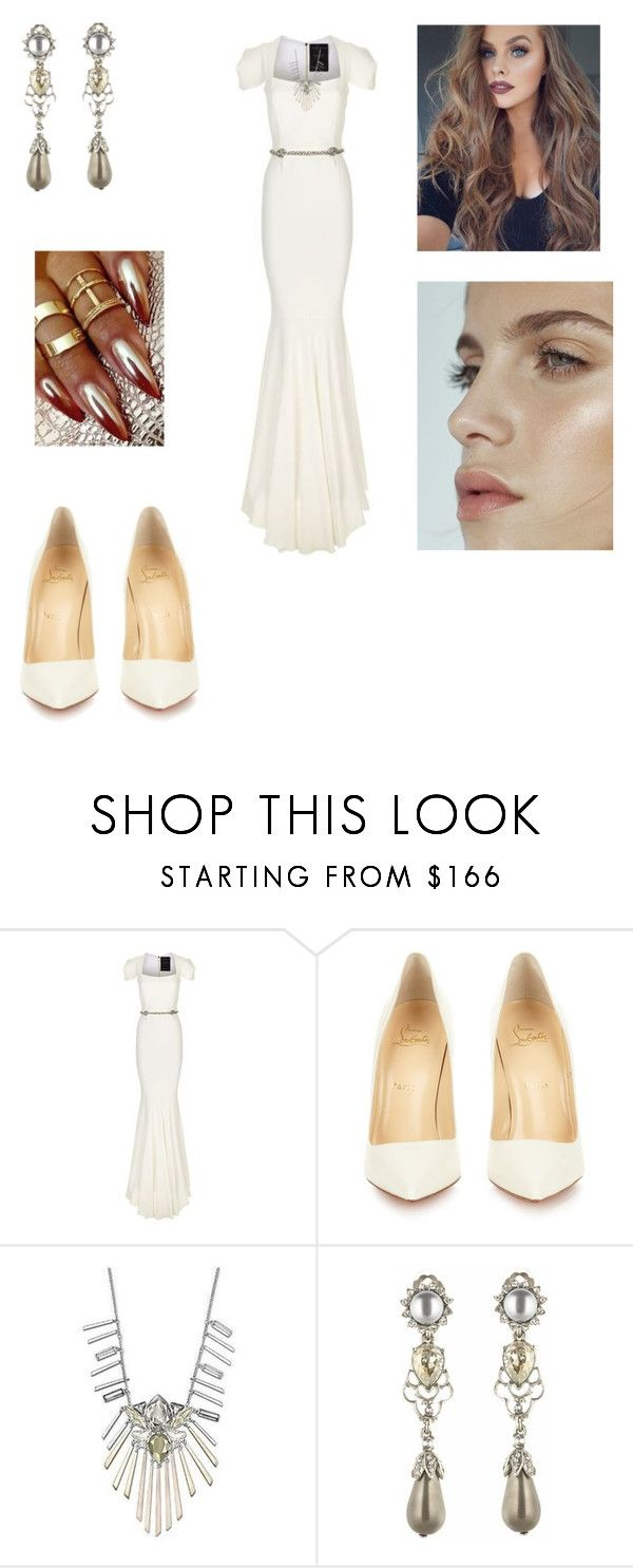 """Untitled #3303"" by vanessa898 ❤ liked on Polyvore featuring Roland Mouret, Christian Louboutin, Swarovski and Oscar de la Renta"