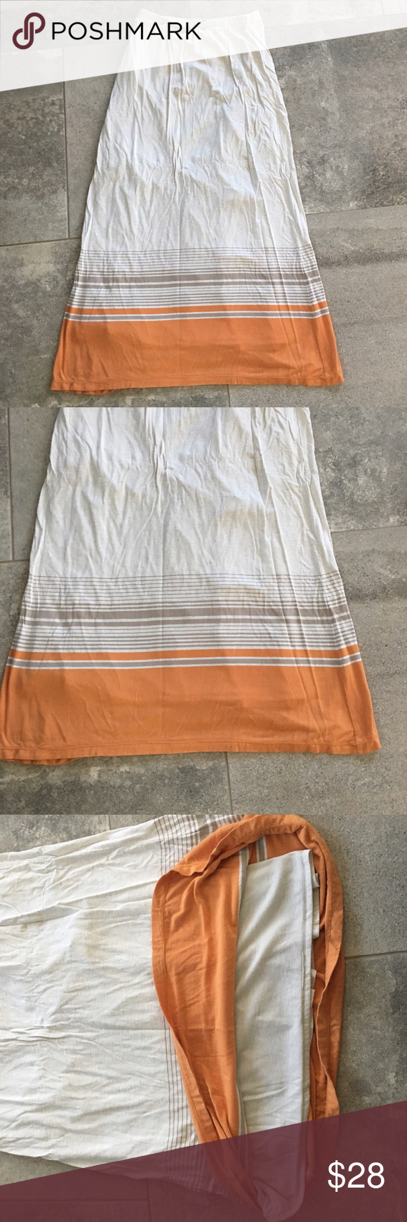 Cream & Orange Striped Maxi Skirt | Maxis, Colors and Maxi skirts