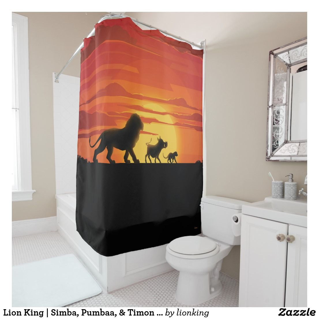 Lion King Simba Pumbaa Timon Silhouette Shower Curtain
