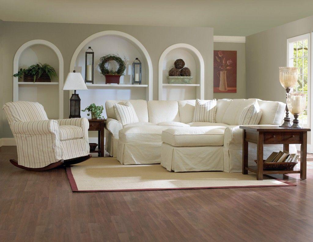 White Slipcovered Sectional Sofa
